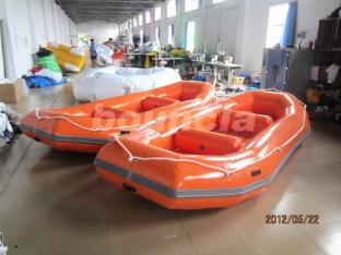 3-4 Person Orange Color River Rafting Boat With Reinforced Strips