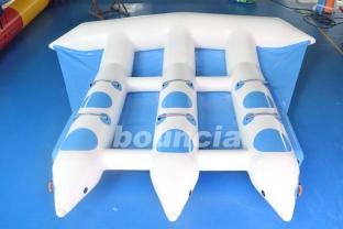 Blue Color Inflatable Flying Fish Boat For Water Games
