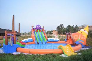 20m Big Inflatable Water Sport Park Slide Pool For Land Or Sea