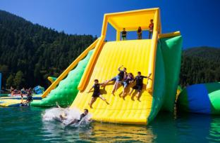 Inflatable Action Tower / Inflatable Water Tower With Climbing Wall And Jump Blob